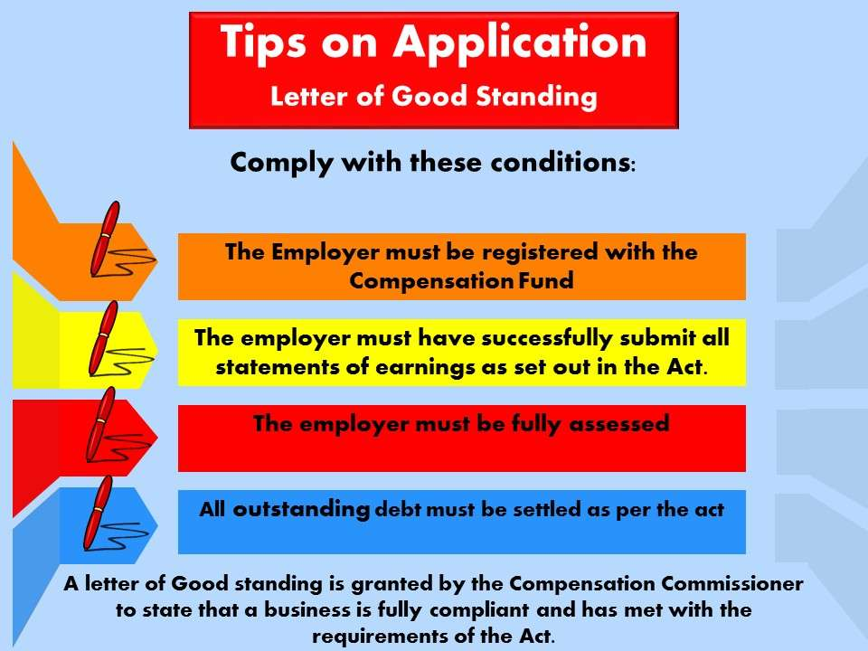 Tips on application for Letter of good standing